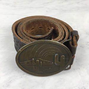 Vintage Indiana Metal Craft Cactus Belt Buckle